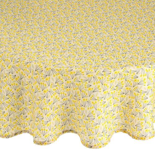 Mantel Estampado Diseño Amarillo Poliéster 150 cm ø
