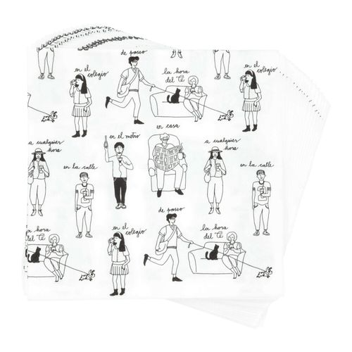 Set 20 Servilletas Diseño Blanco Papel 33 x 33 cm