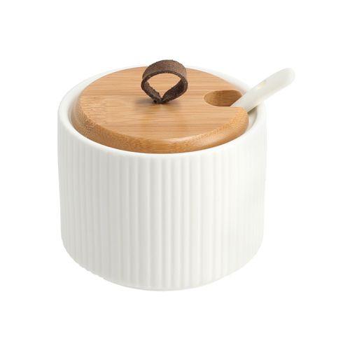 Mermeladero con Tapa Bambú de Porcelana