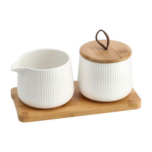 Set Azucarero y Lechero con Bandeja de Porcelana