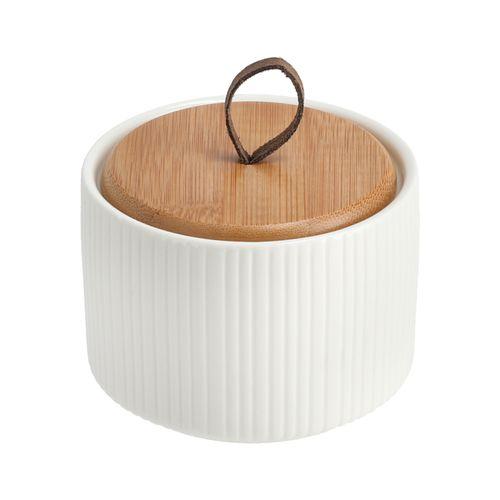 Azucarero con Tapa Bambú de Porcelana