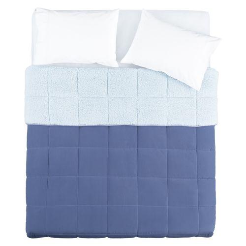 Cobertor Cordero Liso Azul Diseño 16 Doble