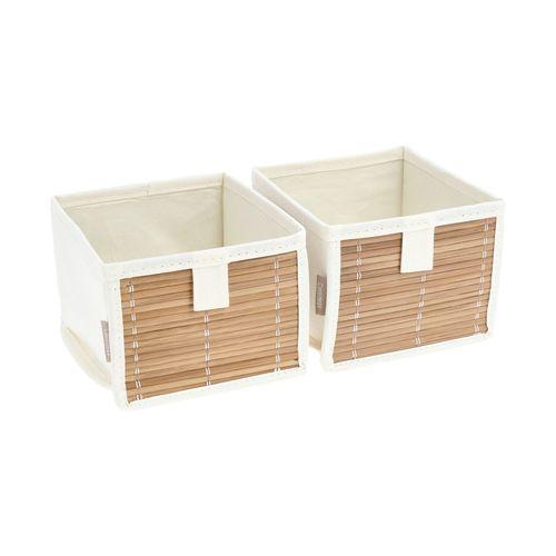 Set 2 Cajas organizadoras Bambú-Algodón 14x14x11 cm