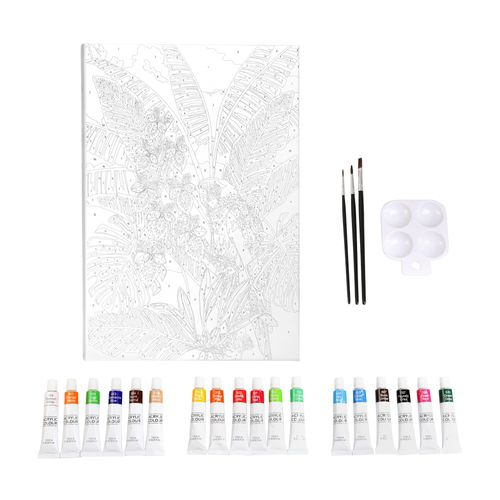 Set Bastidor con Diseño y Pinturas Acrílicas 30x40 cm