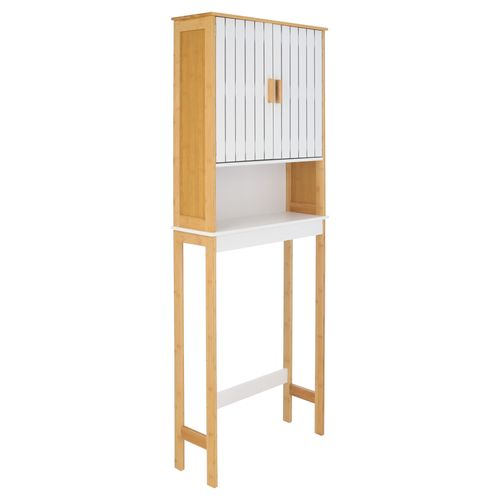 Mueble Inodoro puerta MDF y Madera Bambú 60x21x168 cm