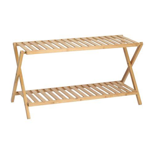 Repisa Plegable de Madera Bambú 2 Bandejas 80x28x37 cm