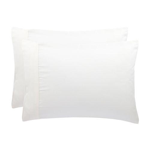 Set 2 Fundas Almohada Concepto Color Blanco Diseño 3 Microfibra