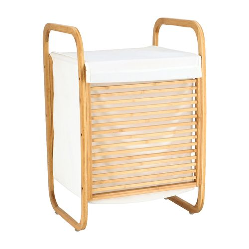 Canasto Ropa con Estructura Bambú