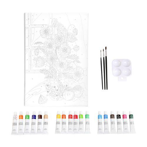 Set Bastidor con Diseño y Pinturas Acrílicas 30 x 40 cm